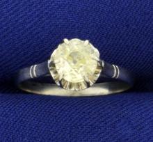 Antique Fancy Yellow .9ct Solitaire Old European Cut Diamond Ring in Platinum