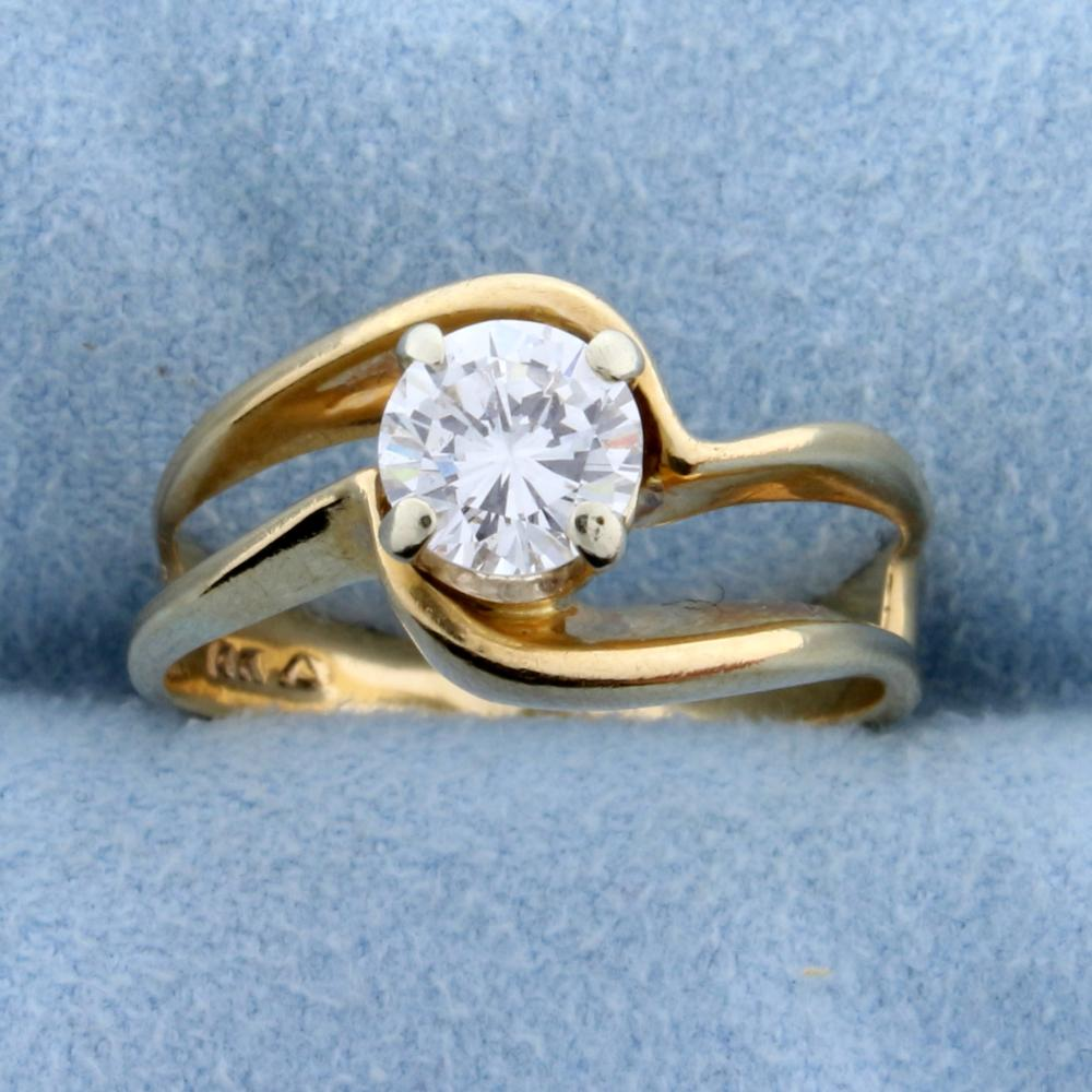 Diamond Solitaire .80 Ct Engagement Ring in 14k Yellow Gold