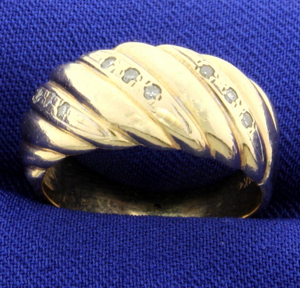 Vintage Diamond Domed Ring in 14k Gold