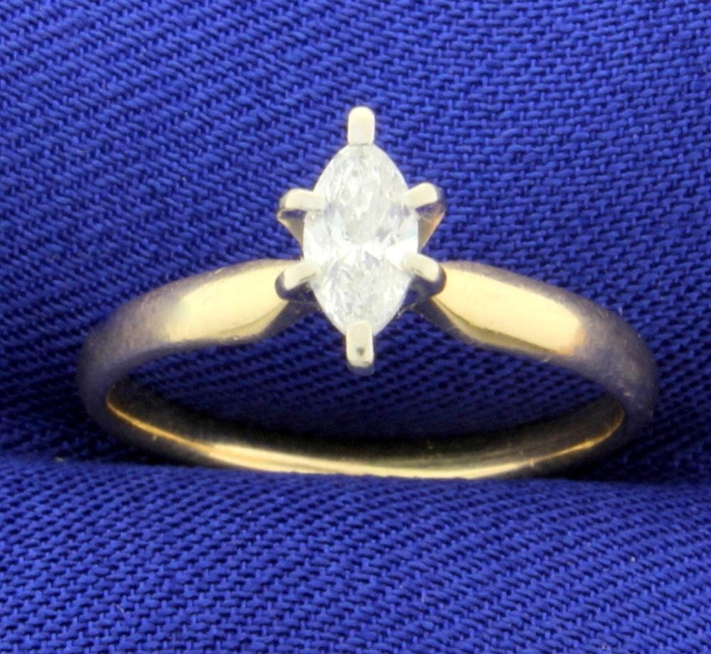 3/8ct Marquise Solitaire Diamond Engagement Ring in 14k Gold