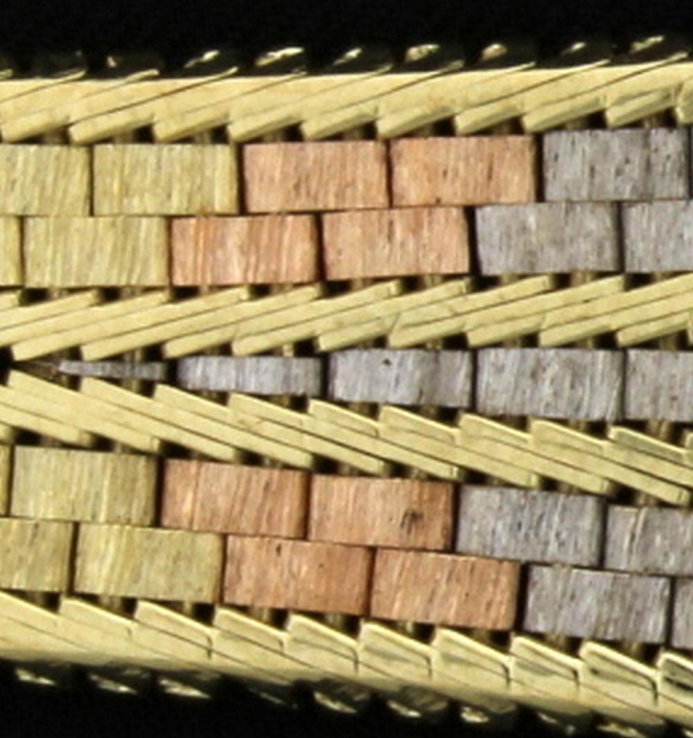 Italian Made Rose, White, & Yellow 14k Gold Bracelet