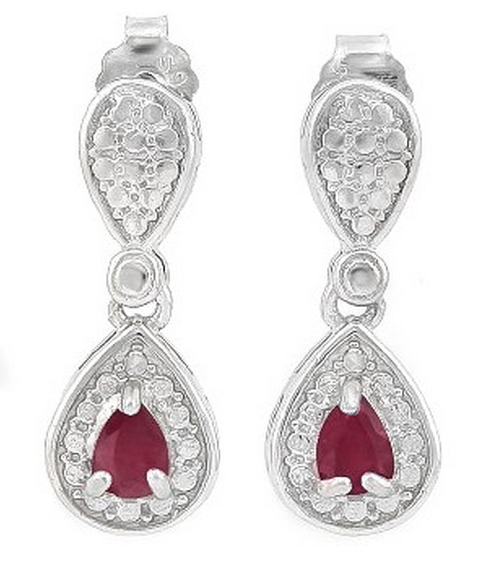 Pear Cut Ruby Dangle Earrings in Sterling Silver