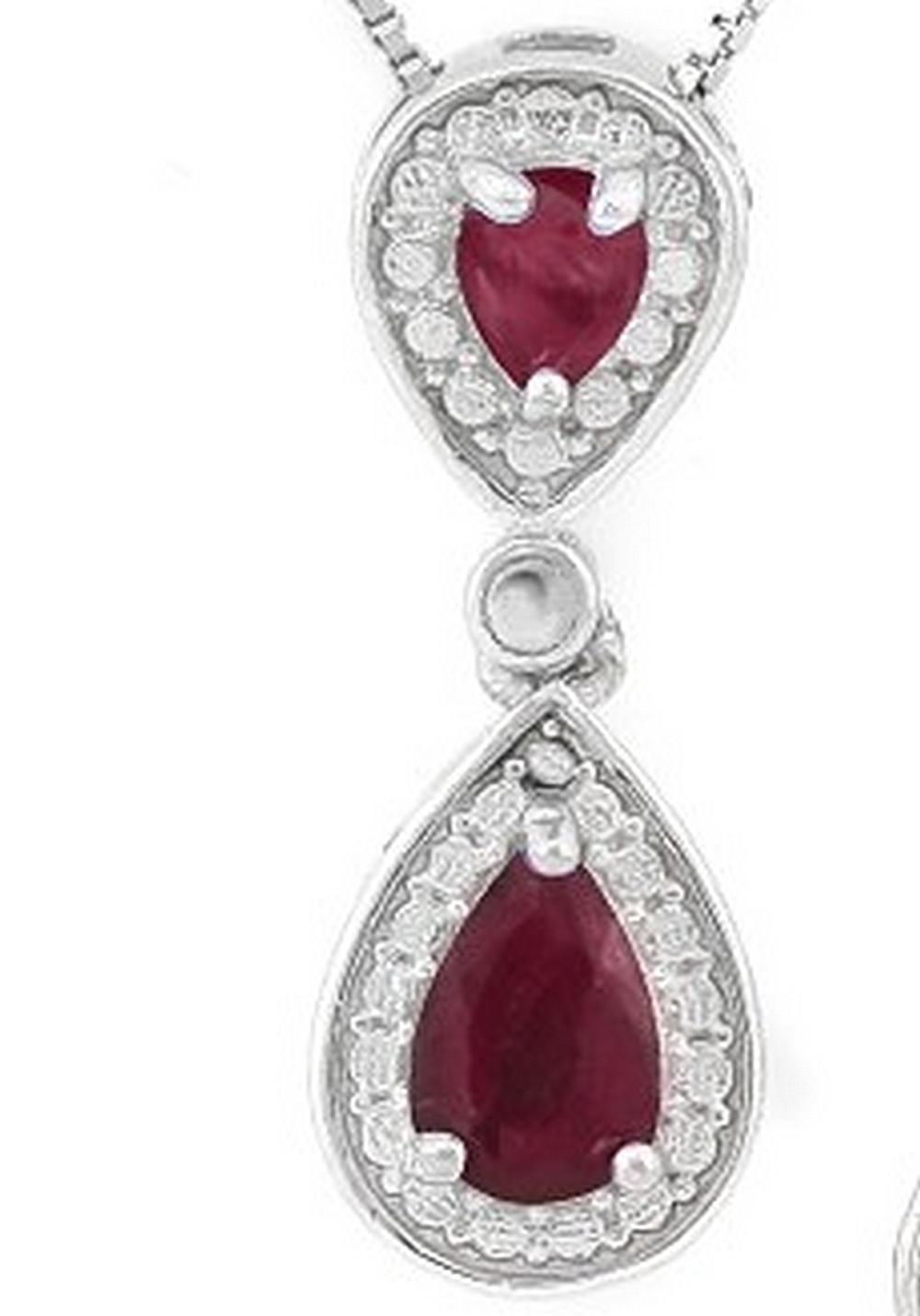 Pear Cut Ruby Dangle Drop Necklace in Sterling Silver