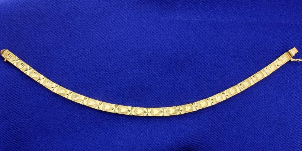 Heart Design Diamond Cut 14k Yellow Gold Bracelet