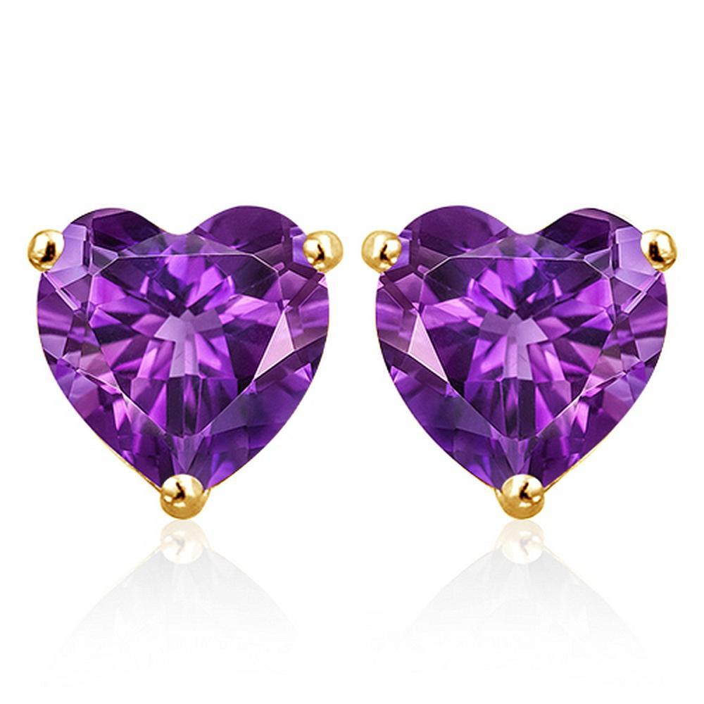6MM Amethyst Heart Stud Earrings in 10k Yellow Gold