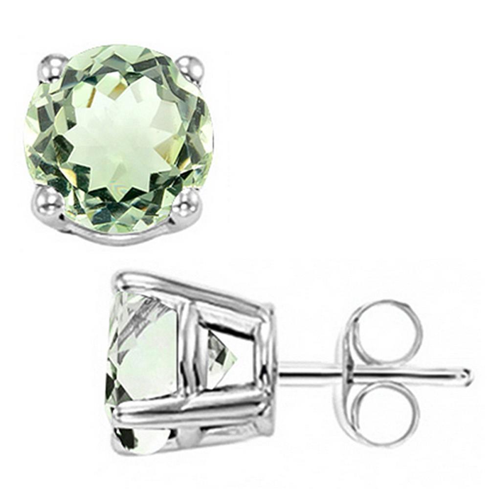 8MM Large Green Amethyst Stud Earrings in Sterling Silver