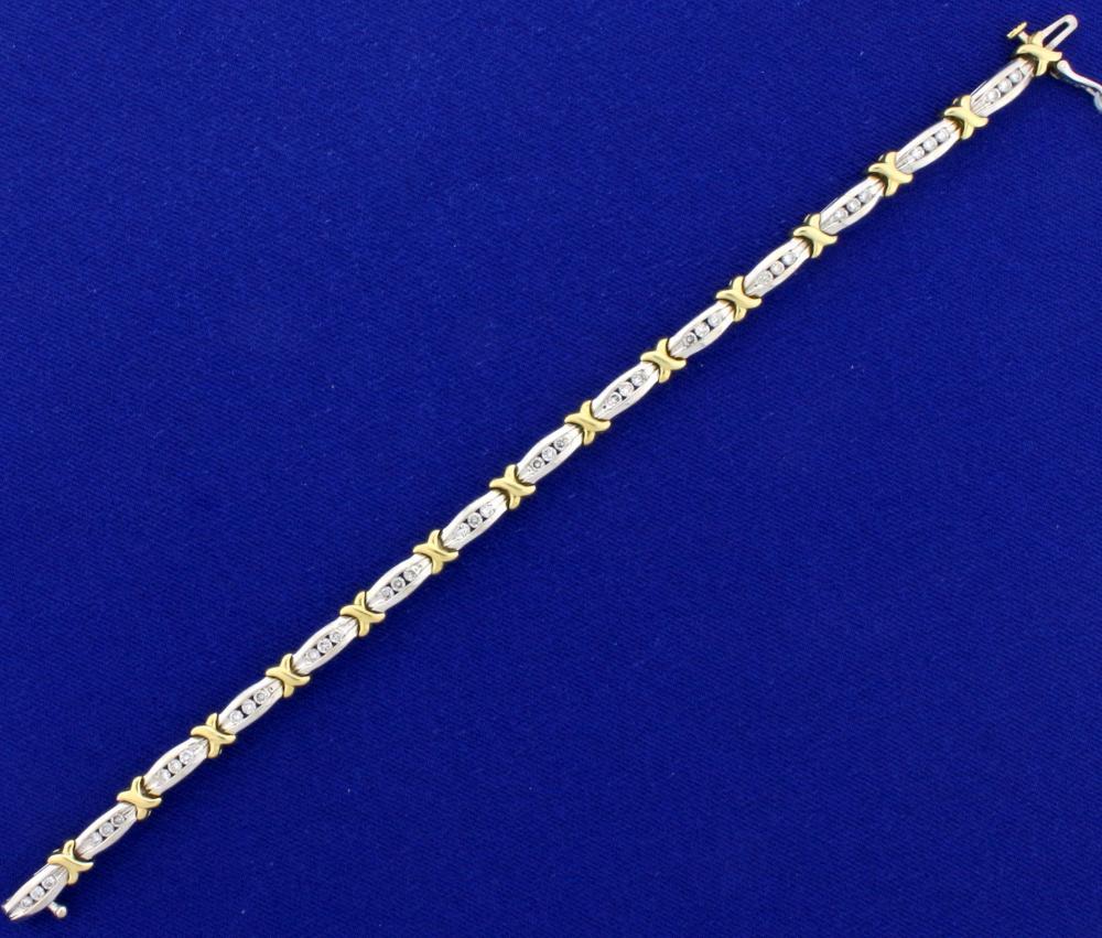 1.25ct TW Diamond Bracelet in 14k White and Yellow Gold