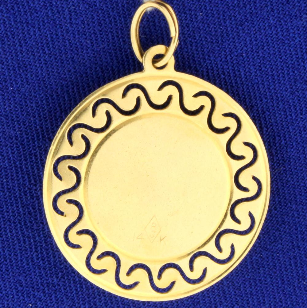 Emerald & Pearl Christmas Bells Holiday Pendant in 14k Yellow Gold