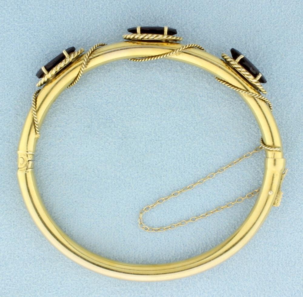 6ct TW Garnet Bangle Bracelet in 14k Yellow Gold