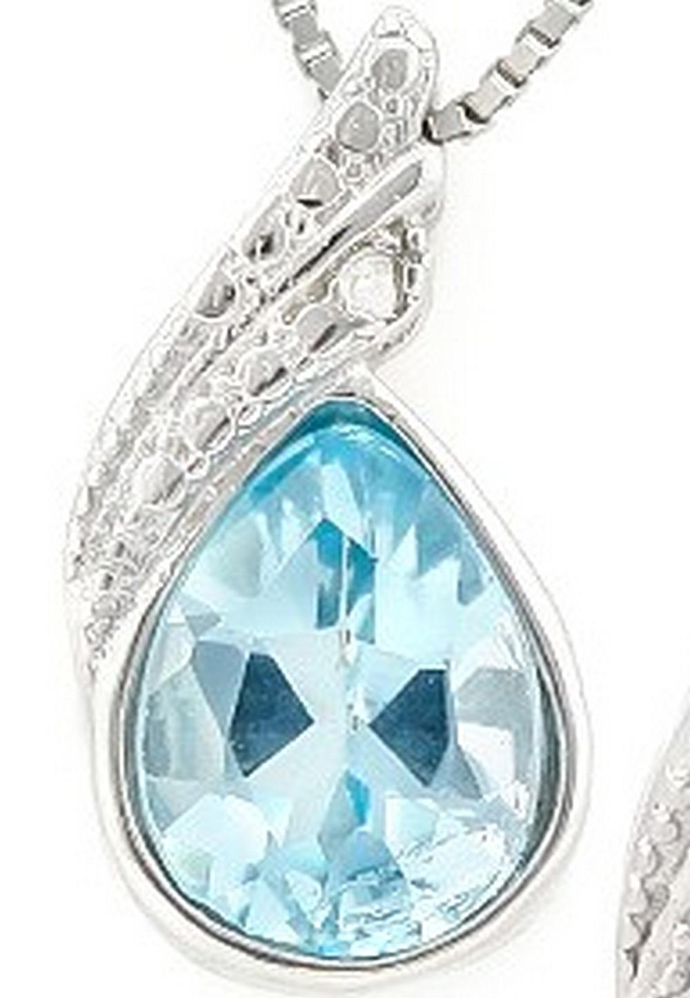 Pear Cut Sky Blue Topaz and Diamond Necklace in Sterling Silver