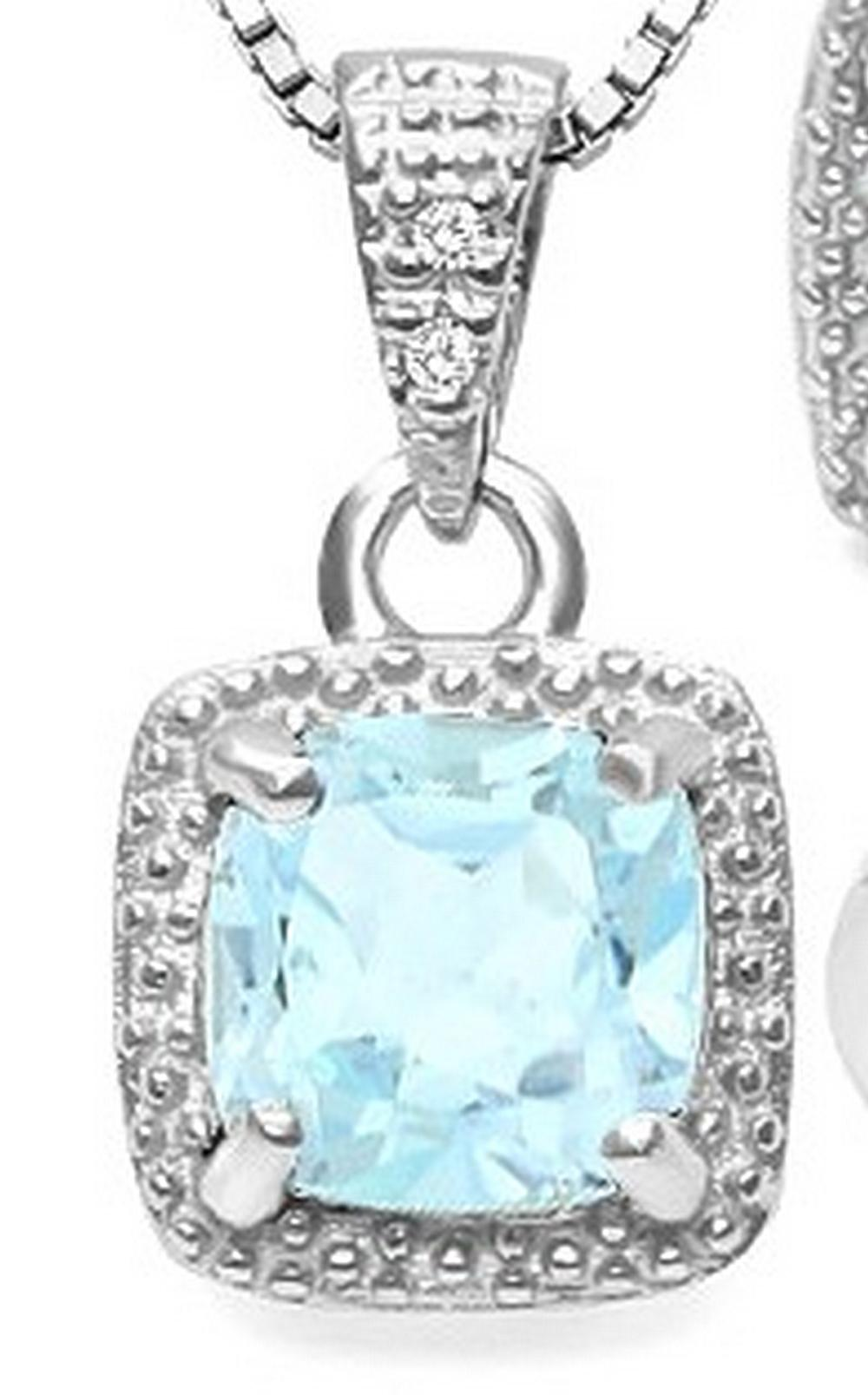 Sky Blue Topaz and Diamond Halo Style Necklace in Sterling Silver