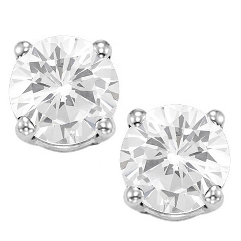 8MM Large White Topaz Stud Earrings in Sterling Silver