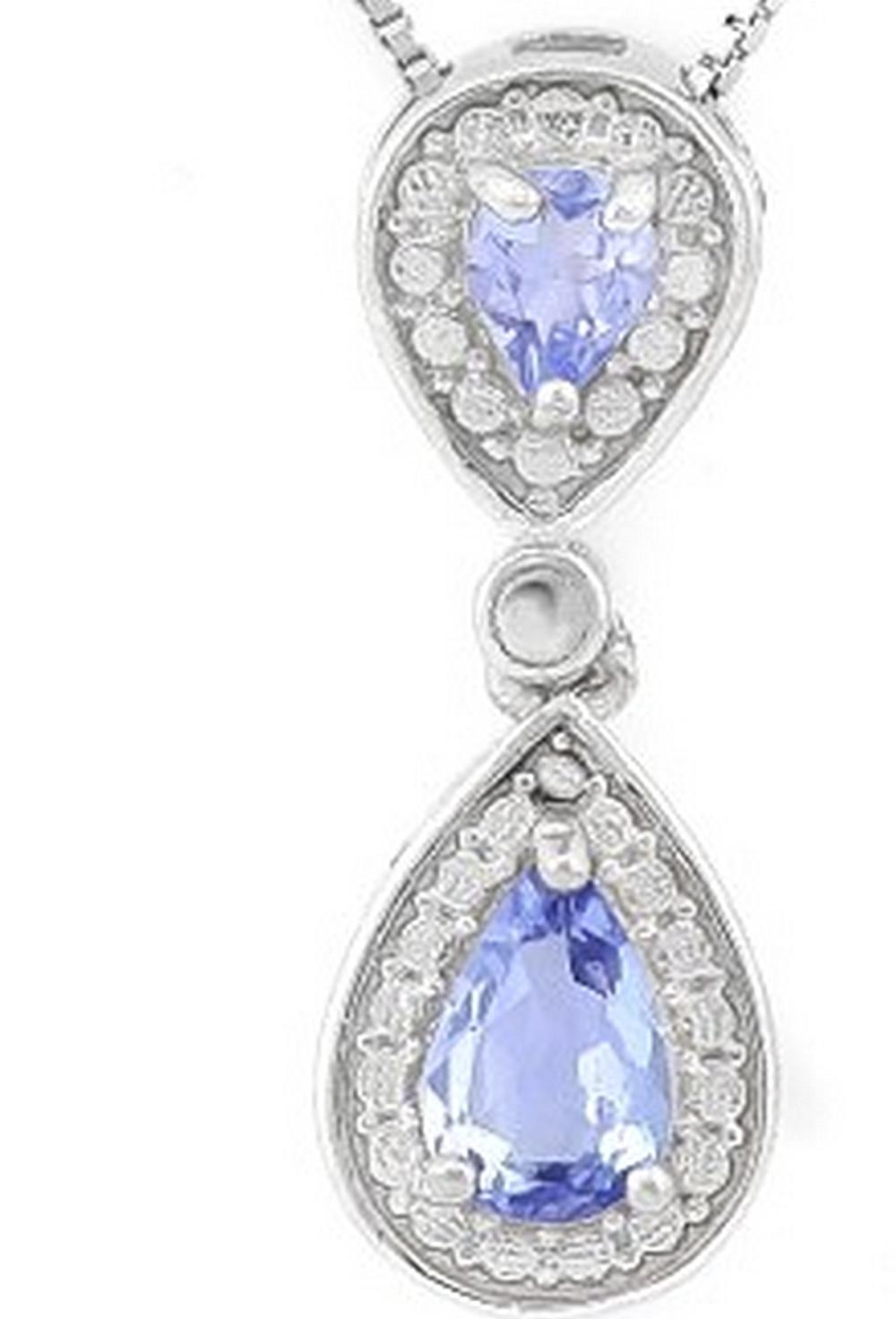 Pear Cut Tanzanite Dangle Drop Necklace in Sterling Silver