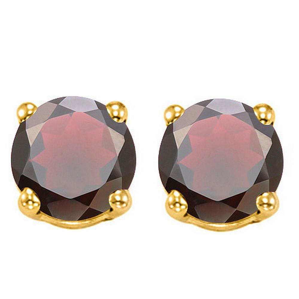 6MM Garnet Stud Earrings in 10k Yellow Gold