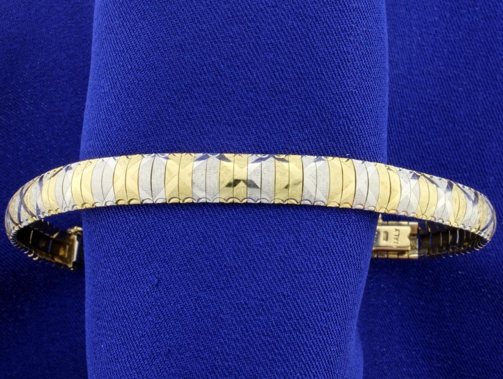 Italian Made Diamond Cut 14k Yellow and White Gold Bracelet