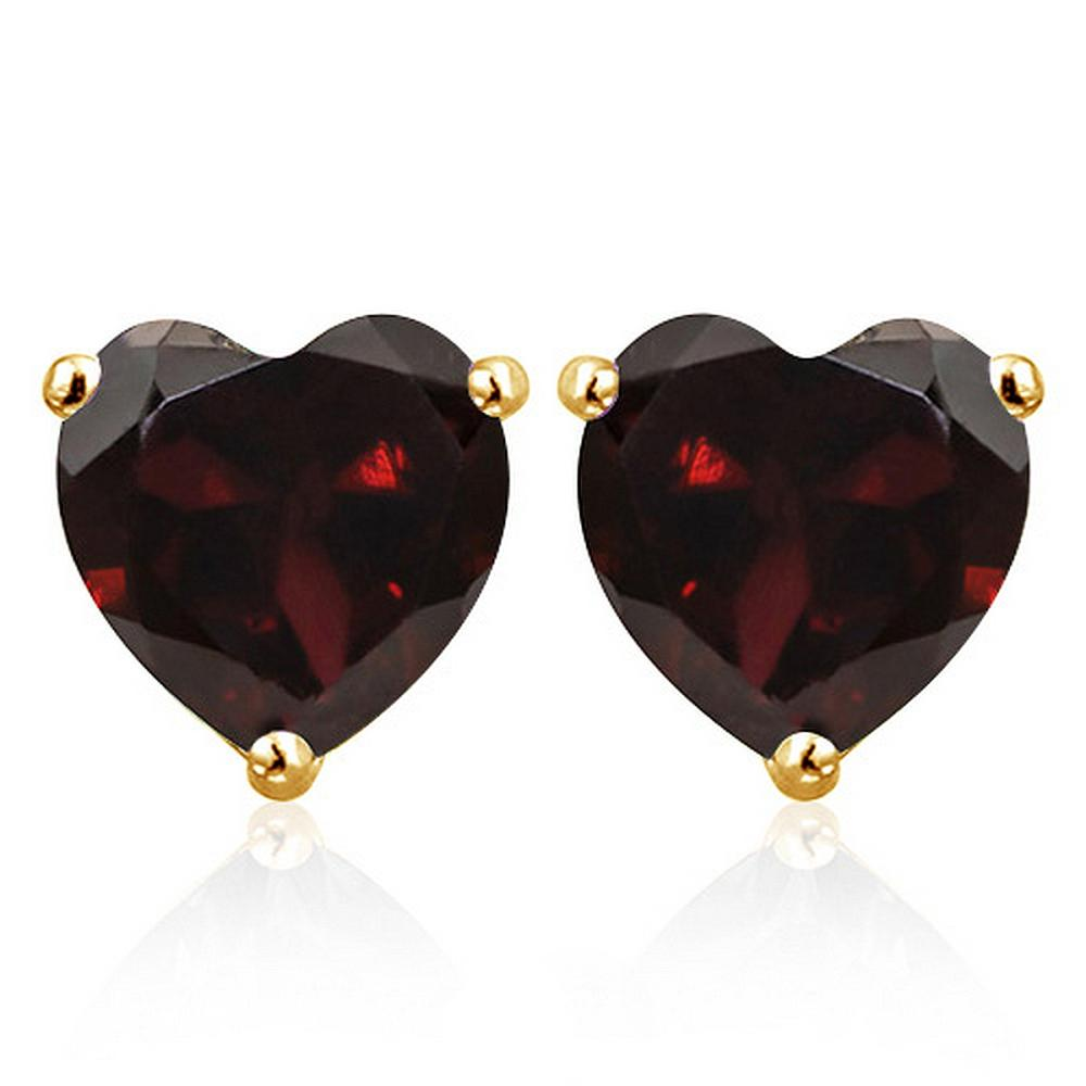 6MM Garnet Heart Stud Earrings in 10k Yellow Gold