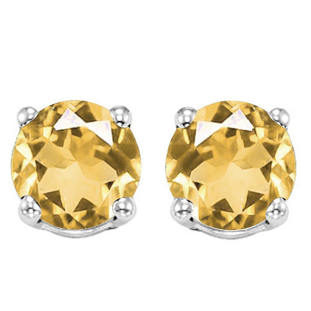 6MM Citrine Stud Earrings in Sterling Silver