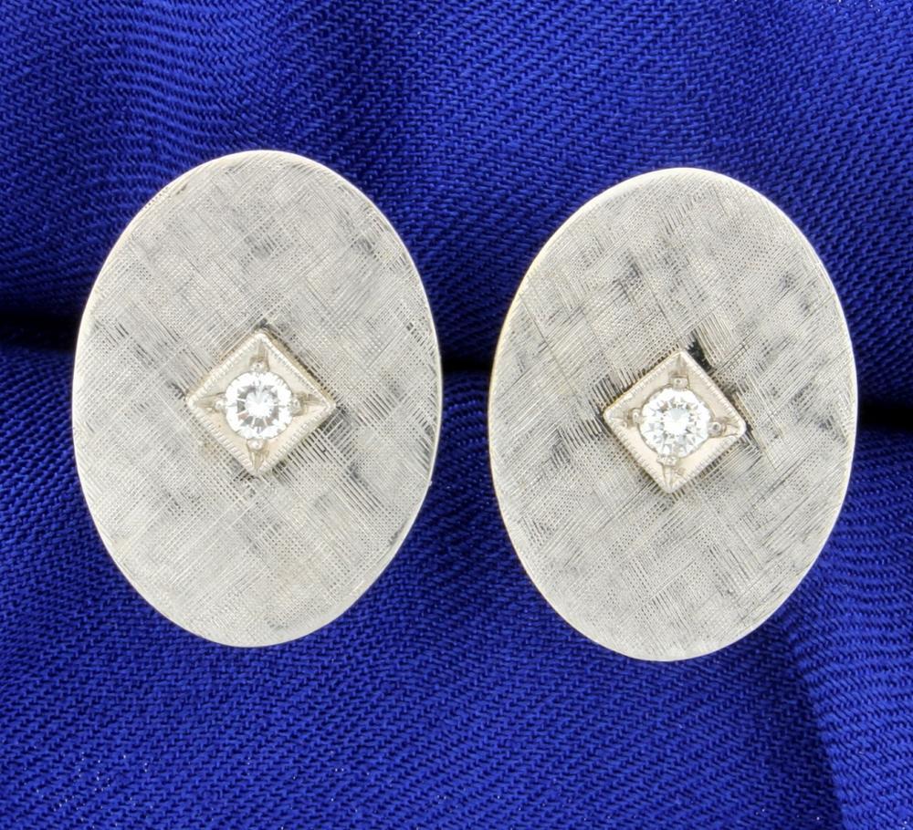 Diamond Cufflinks in 14k White Gold