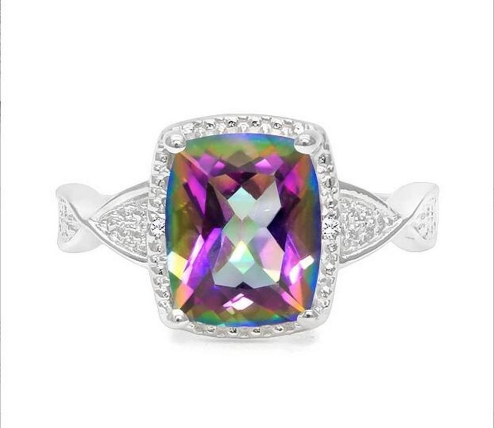 2.5CT Mystic Topaz & Diamond Ring in Sterling Silver