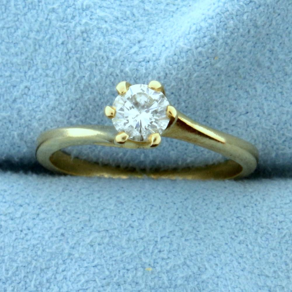 .4ct Bypass Style Diamond Solitaire Engagement Ring in 14k Yellow Gold