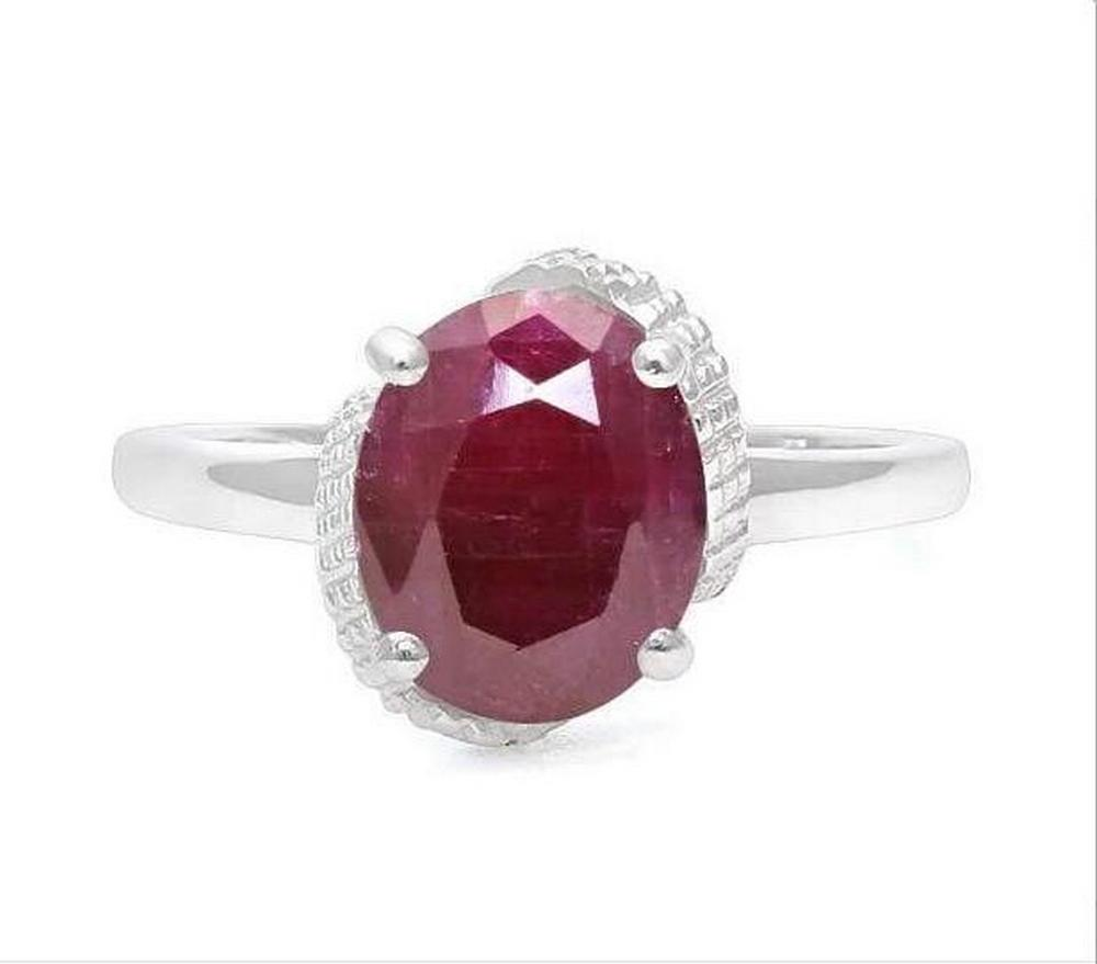 3.7CT Ruby & Diamond Ring in Sterling Silver