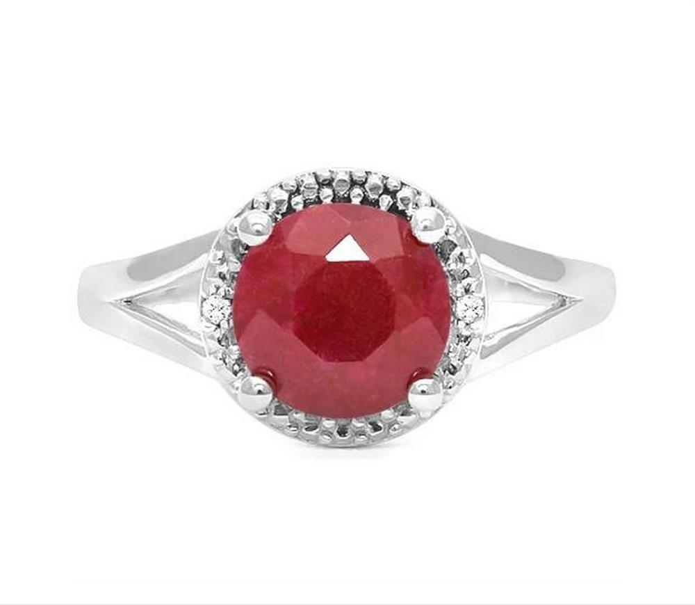 1.8CT Ruby & Diamond Ring in Sterling Silver