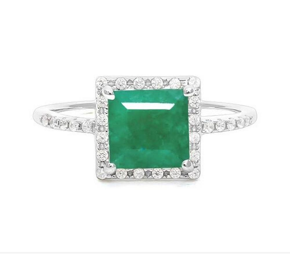 2.3CT Emerald Halo Ring in Sterling Silver