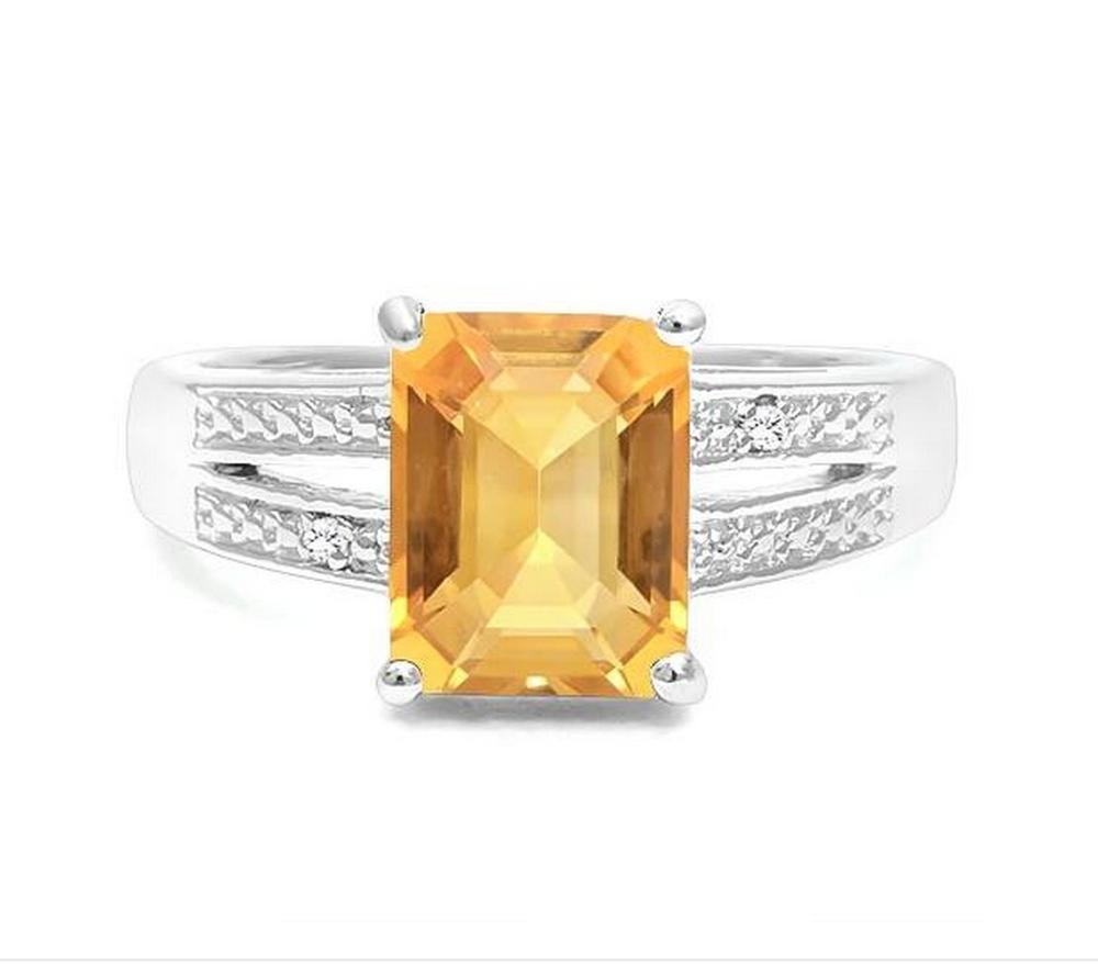 2CT Golden Citrine & Diamond Ring in Sterling Silver