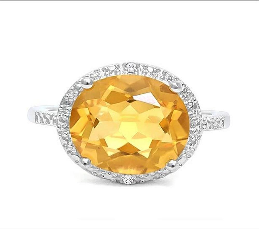 Huge 4.2CT Citrine & Diamond Statement Ring in Sterling Silver