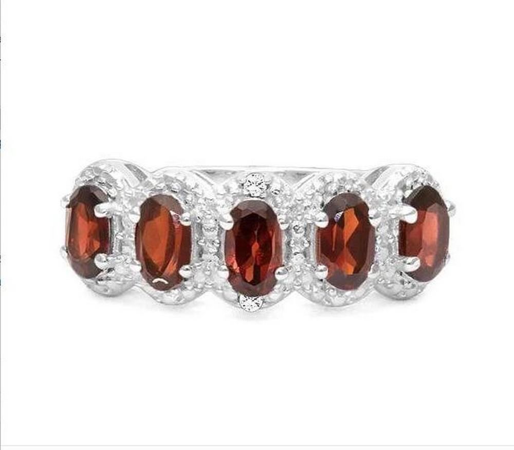 Garnet 5-Stone Halo Ring in Sterling Silver