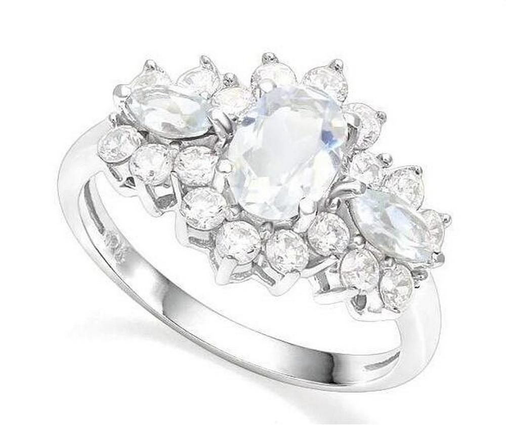 Aquamarine 3-Stone Ring in Sterling Silver
