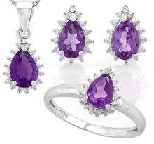 Amethyst 2.6CTW Ring Earring and Necklace Set in Sterling Silver