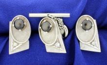 Diamond and Black Sapphire Cufflinks, Tie Tack, and Tuxedo Stud Set