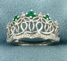 Emerald and Diamond Crown Ring in 14K White Gold