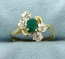 Emerald and Diamond Gold Flower Design Ring