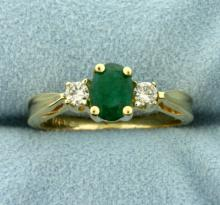 1ct Natural Emerald and Diamond Ring in 14K Yellow Gold