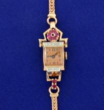 Antique Solid 14K Rose Gold, Ruby, and Diamond Ladies Watch