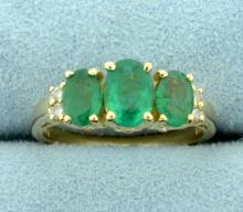 Over 2ct TW Natural Emerald and Diamond Ring in 14K Yellow Gold