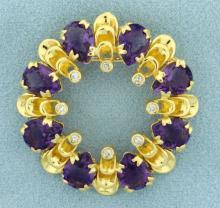 Designer Circle Amethyst and Diamond Pin or Pendant in 18K Yellow Gold