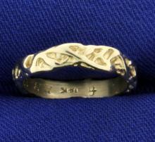 Vintage Handmade 14k White Gold Band Ring