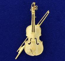 Vintage Helzberg Designer Sapphire and Diamond Violin Pin in 14K Yellow Gold