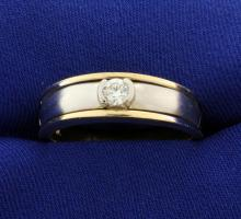 Men's Yellow and White Gold Two Tone Diamond Ring
