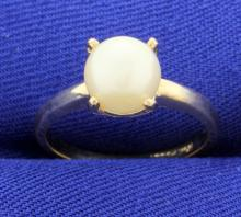 Large 8mm Pearl Solitaire Ring