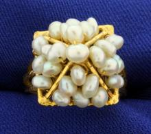 Vintage Pyramid Pearl Ring in 18k Gold