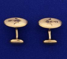 Rose Gold Masonic Cuff Links