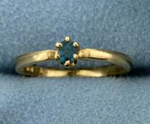 Color Changing Alexandrite Solitaire Ring in 14K Yellow Gold