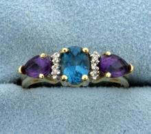 Blue Topaz, Amethyst, and Diamond Ring in 14K Yellow Gold