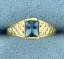 Antique Blue Spinel Ring in 14K Yellow Gold