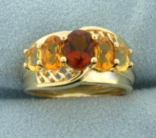 Unique Citrine Ring in 14K Yellow Gold