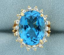 Large Swiss Blue Topaz and White Sapphire Statement Ring in 14K Yellow Gold